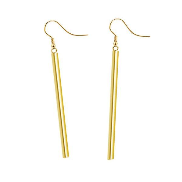 cf2233dcdb9e Fashion Punk Charm Vertical Bar Long Earring For Women Simple Style Silver Gold  Color Metal Dangle