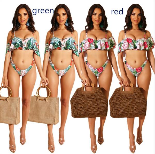 Womens Swimwear Bikini sexy Strandkleidung gedruckt falbala binden BH + Unterwäsche Zwei Stücke gesetzt Bikini Schwimmen Badeanzug heiß klw0890