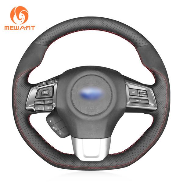 MEWANT Black Genuine Leather Suede Stitching Wrap Car Steering Wheel Cover for Subaru WRX (STI) 2015-2019 Levorg 2015-2017 2018 2019