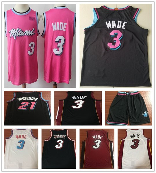 super popular 99faa 94dd6 2019 Earned Edition Pink 3 Dwyane Wade Jerseys New City Black White Red 21  Hassan Whiteside 7 Goran Dragic Jersey Stitched Shirts Shorts From Bujidao,  ...
