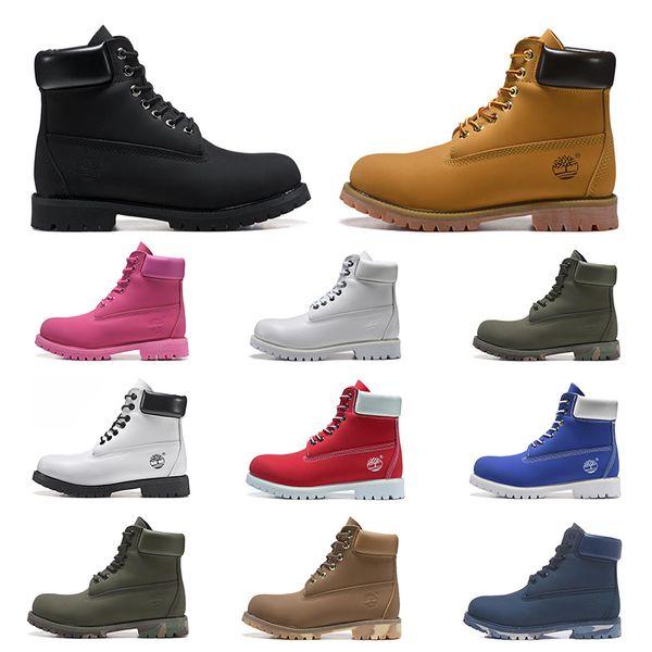 Yeni Timberland lüks tasarımcı erkekler kadınlar botlar üçlü siyah beyaz lacivert moda Martin Boot açık hava koşu yürüyüş ayakkabısı mens kestane