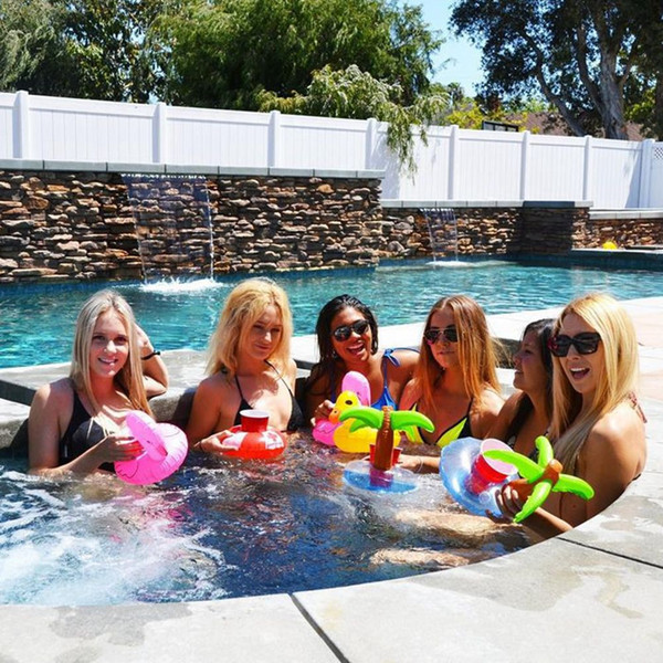 50pcs Drinks Cup Holder Pool Floats PVC Inflatable Flamingo Drinks Cup Holder Pool Floating Bar Swim Beverage Holders For Phone Cup