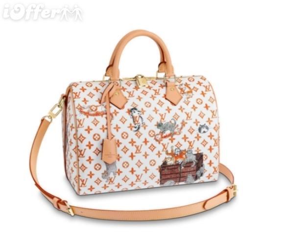 M44400 30 canvas cat handbag purse clutch shoulder bag white SHOULDER BAG Messenger Shoulder Bags Crossbody HANDBAGS Totes Boston Bags
