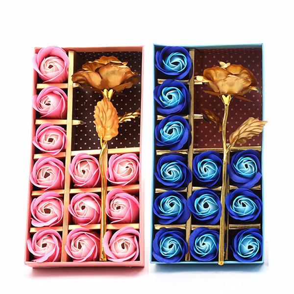 12 Unids Jabón Flor Día de la Madre Caja de Regalo Perfumada Baño Cuerpo Pétalo Flor Jabón Flores Oro Hoja Decoración Artificial Rosa Regalo DH1276 T03