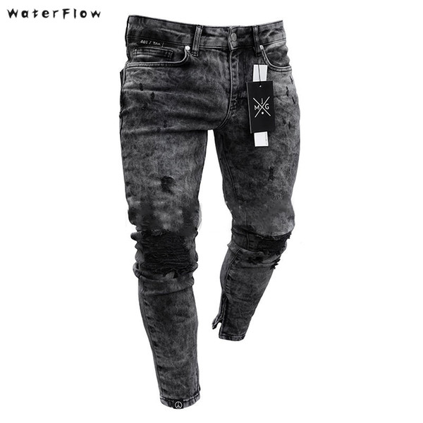Fashion Men Black Jeans Skinny Ripped Stretch Slim New Hip Hop Swag Man Casual Denim Holes Jeans Pants Blue Buy At The Price Of 19 87 In Dhgate Com Imall Com