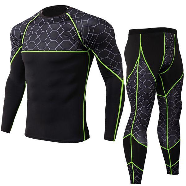 2019 New Compression Men's Sport Suits Quick Dry Running Sets Men T Shirt Pants Fitness Clothes Gym Workout Jogging Sport Suit Q190521