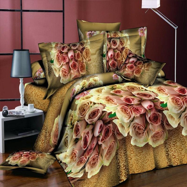 4pcs Bedding Set luxury 3D Rose Cotton Bedding sets Bed Sheet Duvet Cover Pillowcase Cover set King Twin Queen size Bedspread