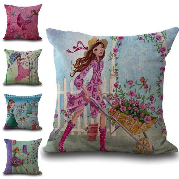 Vestido Beauty Girl Flower Funda de almohada Funda de cojín Funda de almohada Funda de lino de algodón suave beddng sets 240571