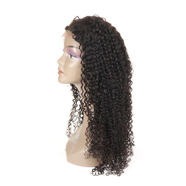 Parrucche per capelli umani con capelli per bambini Pre pizzicato Capelli vergini brasiliani Parrucca frontale in pizzo riccio crespo per le donne Parte libera Glueless