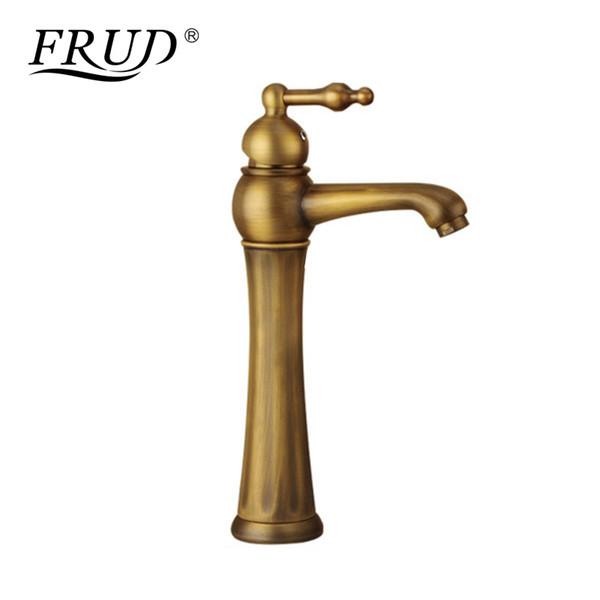 FRUD Brass Basin Faucet Retro Bathroom Basin Sink Taps Deck Mounted Single Holder Swivel Spout Mixer Continental Faucet Y10066