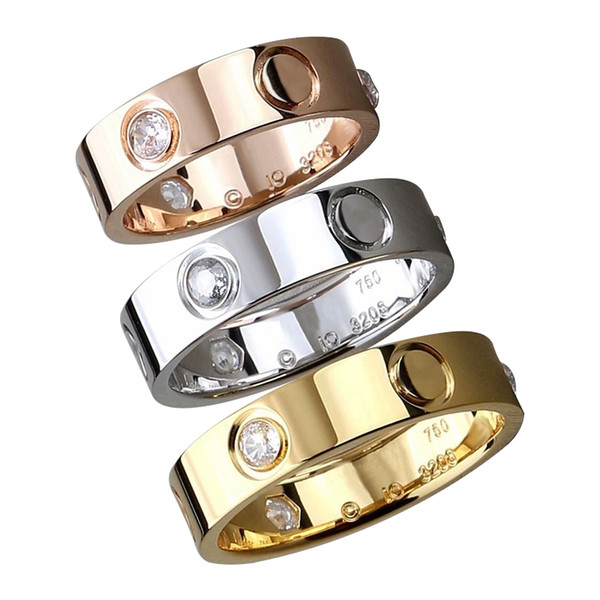 2019 new Classic in acciaio inossidabile oro love sposi anello fidanzamento per donna uomo Fashion designer eterno gioielli zircone per le donne