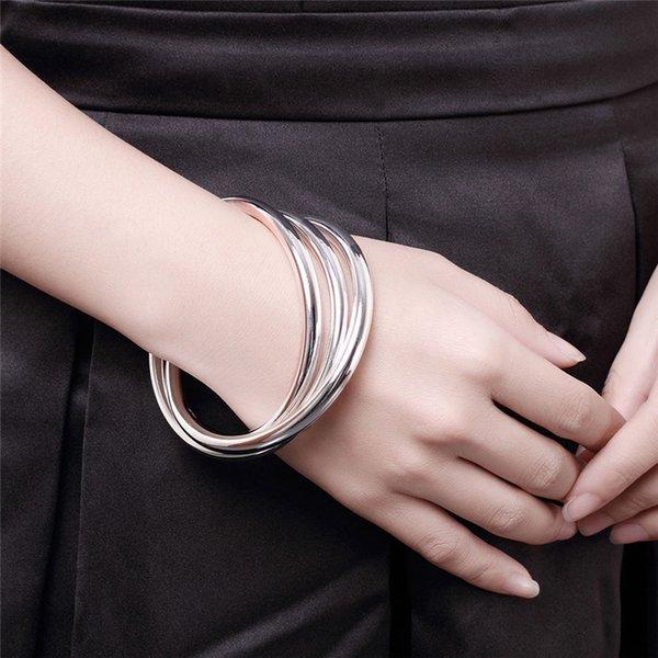 Куча браслетов DOTEFFIL 925 Стерлинговый серебряный серебряный браслет браслеты женские три линии гладкие высококачественные твердые браслеты браслеты мода еврейский ...