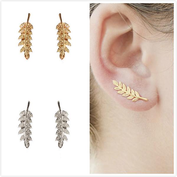 Mode Gold Silber Überzogene Blatt Ohrringe Nette Einfache Ohrclip Frau Partei Schmuck Liebhaber Geschenk Sexy Ohrringe