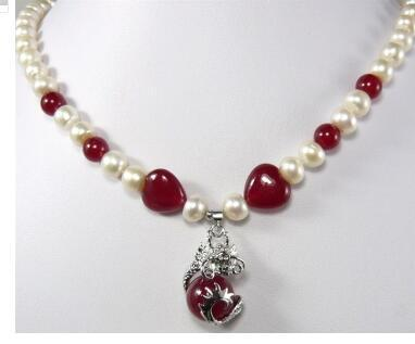 Free Shipping fancy design Beautiful white pearl red jades & fancy pendant Necklace free shipping