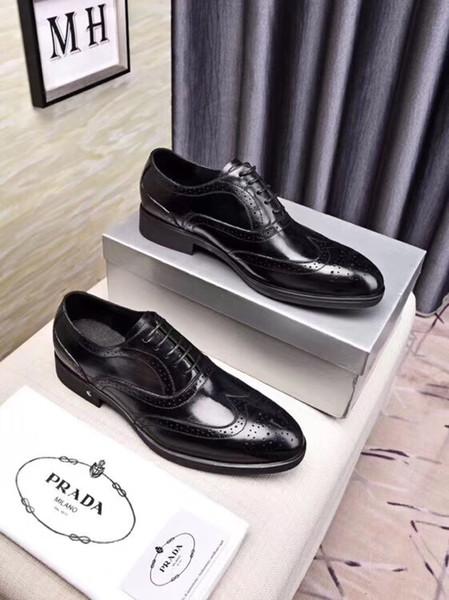 Top luxurious Men Elevator Dress Mens Printed Shoes Blace Mens Formal Split Leather Brogue Shoes