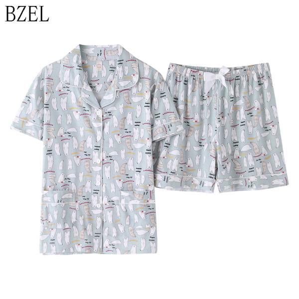 BZEL Fashion Pyjamas Frauen Nachtwäsche Baumwolle Pyjamas Set Frauen Qualität Pyjamas Pocket Home Wear Lounge Wear Plus Größe Alle Altersgruppen
