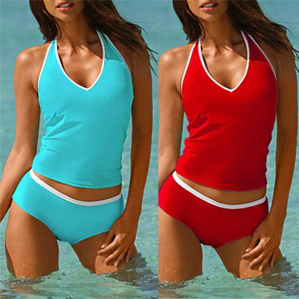 Kadın Moda Yastıklı Set Şınav Sutyen Kadın Beachwear Patchwork 1 Parça Nokta Ruffled Mayo Renkler Üçgen Vücut Z0306 suits