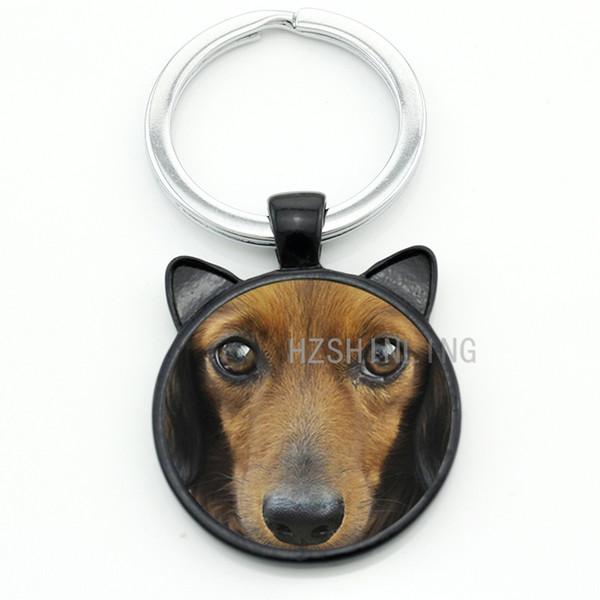 TAFREE Cool pet dog Dachshund Buddy keychain men women dog lover jewelry vintage Dachshund glass gem animal key chain ring holder CN718