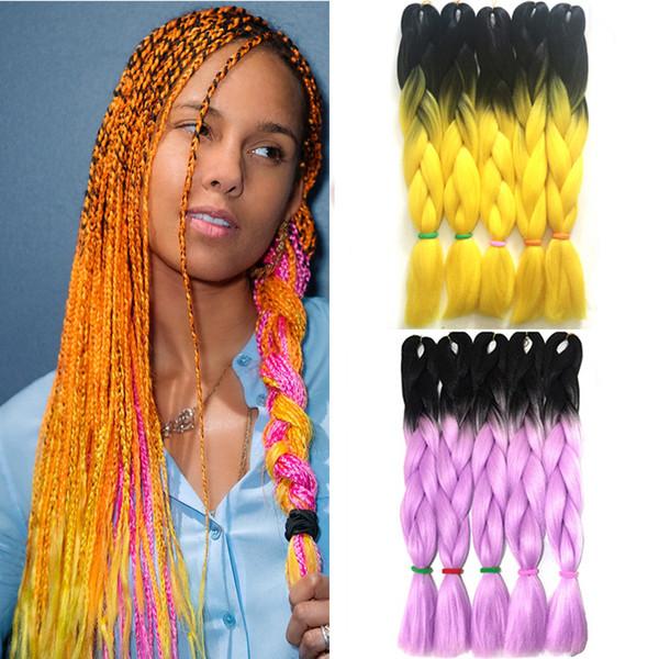 Dois Tons de Trança Torção Jumbo Ombre Trança de Cabelo X-pression Extensões de Cabelo Caixa de Tranças Afro Cabelo Crochet Ombre Amarelo Rosa 24 Polegada 100g / pedaço
