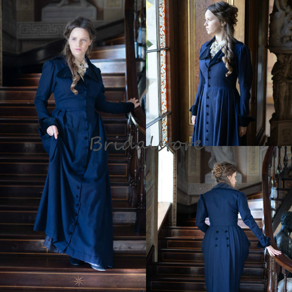 Retro Royal Victorian Prom Dresses With Sleeve Plus Size Button Decoration Formal Evening Dresses Halloween Gothic Vampire Aulic Party Gown