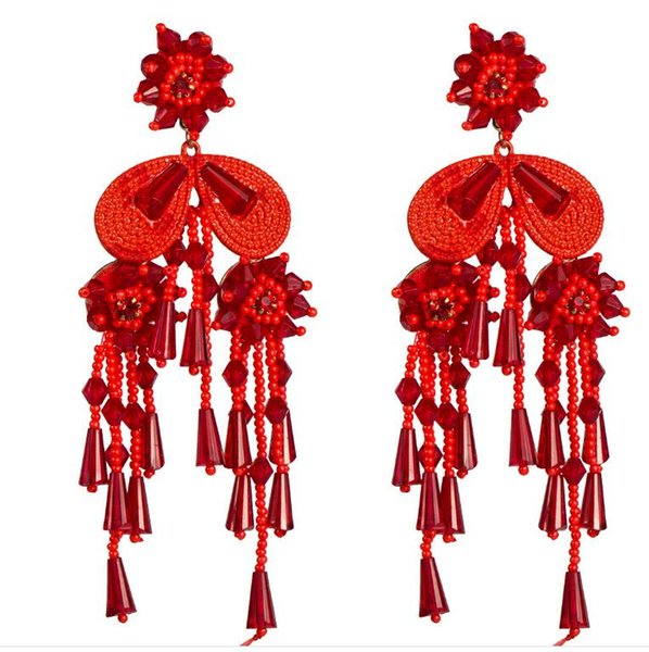Hot sale explosions Europe and the United States new acrylic crystal rice beads flower tassel trend wild earrings net red street shot