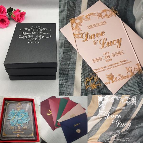 Cuadrado personalizado Invitación de acrílico Boda Tarjeta de invitación de negocios Suministros de boda Nuevo evento cajas conmemorativas paquetes de sobres