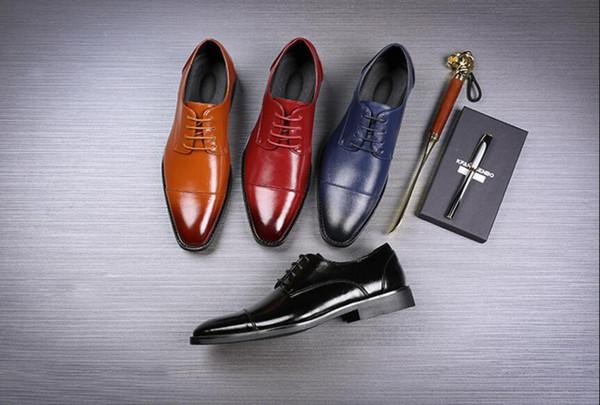 Diseñador hecho a mano Vintage Retro Moda de Lujo Casual Fiesta de Boda Marca Masculina de Cuero Genuino Para Hombre Derby Zapatos