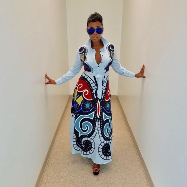Newon الفراشة مطبوعة عادية القميص اللباس المرأة زر حتى كم طويل صالح ومضيئة فستان ماكسي أزياء ربيع بلوزة رداء