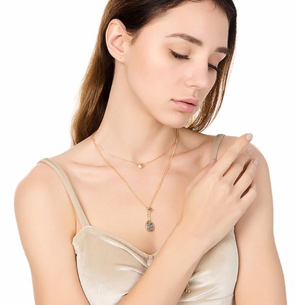 Femmes Collier Clavicule Multicouche Pendentif Étoile Lune Cristal Strass Bijoux