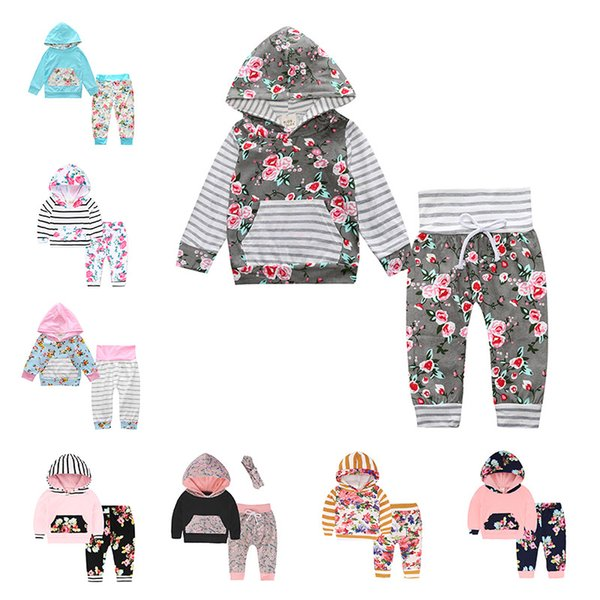 Free DHL Newborn Infant Baby INS 48 Styles Floral Hoodie Tops Pants Outfits Camouflage Clothing Set Winter Girl Suits Kids Jumpsuits 0-2T