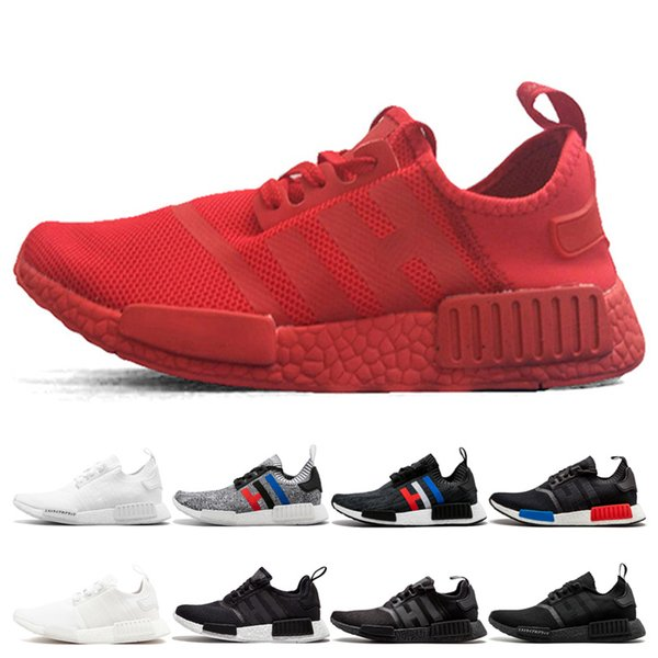 New Runner R1 Primeknit Triple Red Running shoes For Men Women Classic Japan Triple white Black Blue Grey Trainer Sports Athletic Sneakers