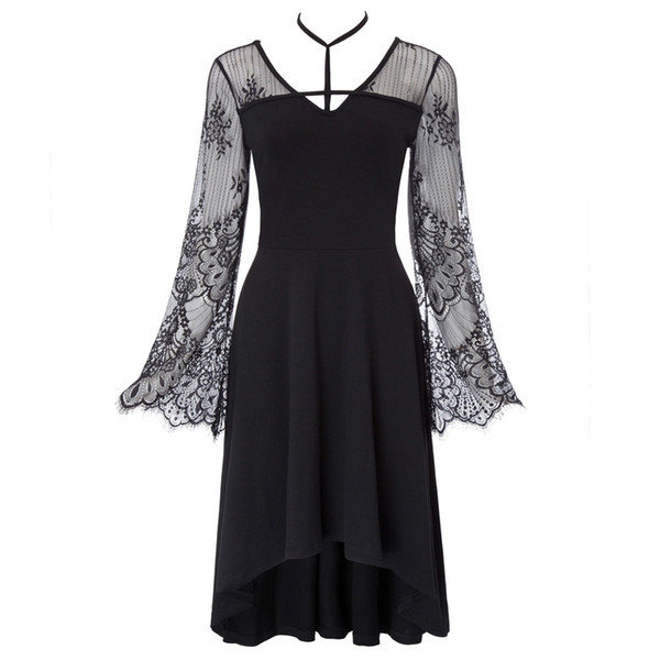 Black Hollow Out Lace Floral Women Dresses Vintage Gothic Style Long Bell Sleeve V-neck See Through Patchwork High-low Hem Dress T3190614