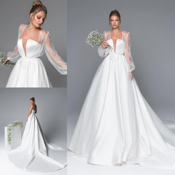 Incredibile A Line Abiti da sposa in raso con maniche lunghe Giacca Sheer Plunging Neck Abiti da sposa Sweep Train robe de mariée