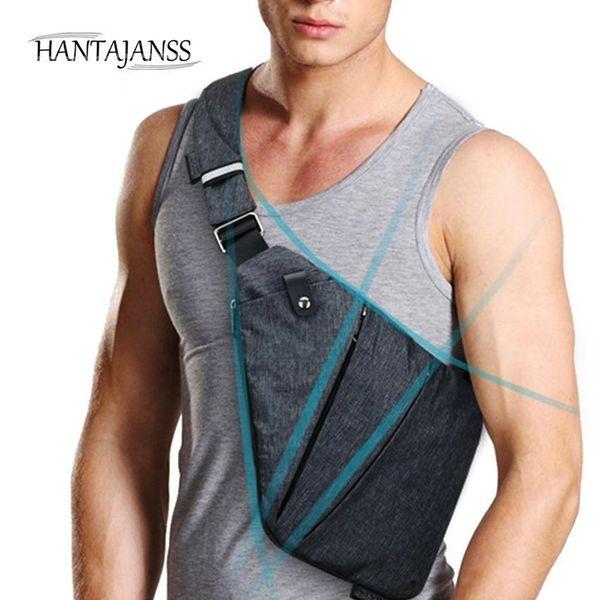 HANTAJANSS Men Chest Bag Nice NEW Black Single Crossbody Bag Messenger Sling Bags Summer Casual Travel Shoulder Handbags