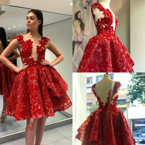Compre 2019 Cortos Rojos Vestidos De Fiesta Sheer Jewel Cuello Cap Manga Encaje 3d Floral Appliqued High Low Vestido De Cóctel Backless Vestidos De