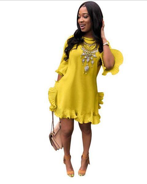 Robe nouvelle sens chaud des femmes européennes et américaines de couleur unie plis irrégulière robe à volants jupe no wear bijoux