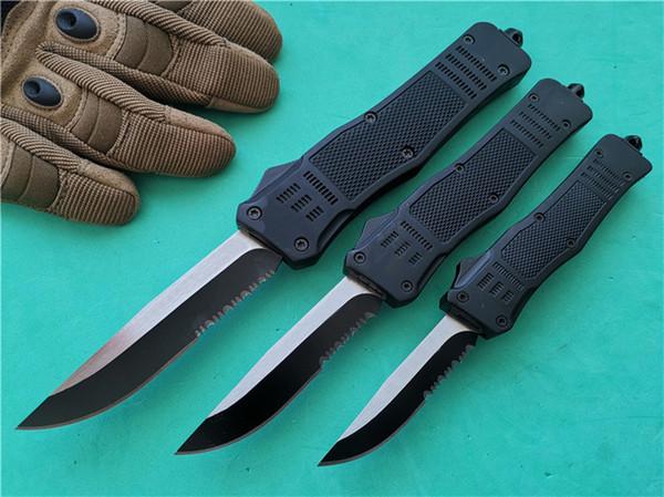 3 pcs A161 combate Dupla ação Tactical faca automática 3 Tamanho 616 Ponto Gota Preta Borda de Sobrevivência EDC bolso facas P879M Q