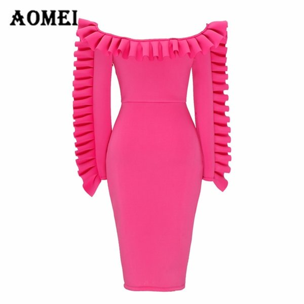 Ladies Sexy Off Shoulder Burgundy Dress Slim Fashion Package Hip Strapless Tube Ruffles Dresses Body Con Club Wear Tunic Clothes Y19051001