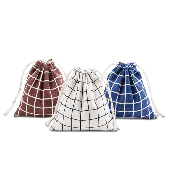 Simple grid pattern 100% cotton linen Drawstring Bag Clothes travel Store organizer dust cloth bag home Sundry kids toy storage bags
