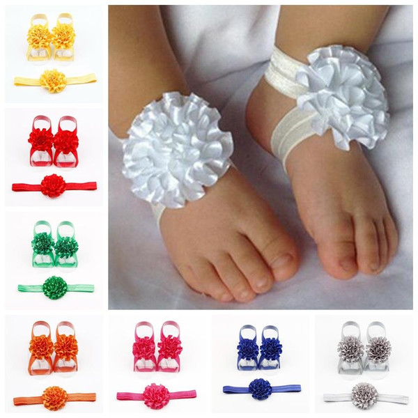 newborn baby girls flower headband barefoot sandals sets satin foot flower hair accessories for photography props 17 colors