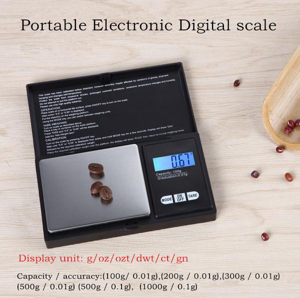 Balances électroniques numériques portables 100g / 0.11 200g / 0.01g / 0.01g 500g / 0.1g 1000g / 0.1g Affichage à cristaux liquides Balance de cuisine multi-usage