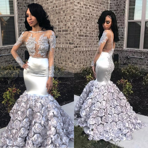 Glamorous 3D Rose Flowers Mermaid Prom Dresses 2019 Appliques Beads Sheer Long Sleeve Evening Gown Silver Stretchy Satin robes de soirée