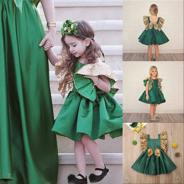 Baby Girl Green Sequins Silk Bow Short Flowers Girl Dress Sleeve Tutu Dress Spring Summer Hot Party Birthday Formal Dress Kids Clothing