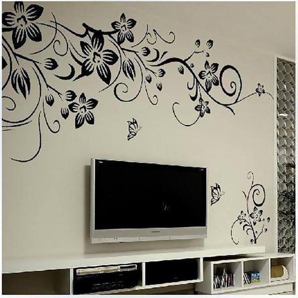Yeni Moda Siyah Çiçek Asma Duvar Çıkartmaları Ev Dekor Romantik Çiçek Kelebekler Oturma Odası Yatak Odası Duvar Sticker Duvar Kağıdı