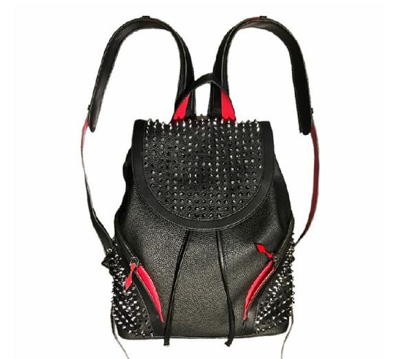 2019 agneau concepteur sacs haut pic de la peau avec cristal spins couleur noire fond rouge packbag