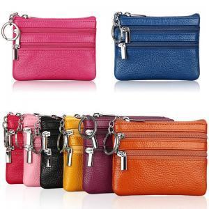 Women Leather Double Zipper Wallet Fashion Cute Min Card Coin Purse Clutch Small Change Bag Men Pocket Wallets Key Holder LJJT256