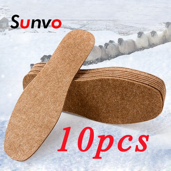 Sunvo 10PCS Winter Felt Insoles Unisex Washable Thermal Thickened Warm Shoes Pads Soft Comfortable Wool Snow Boots Inserts Soles