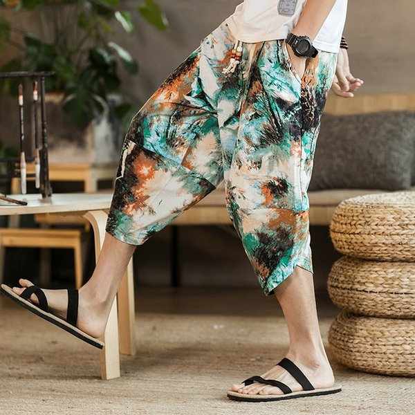 male bermuda casual board short pants summer chinese style men's wide crotch harem pants loose summer large cropped trousers