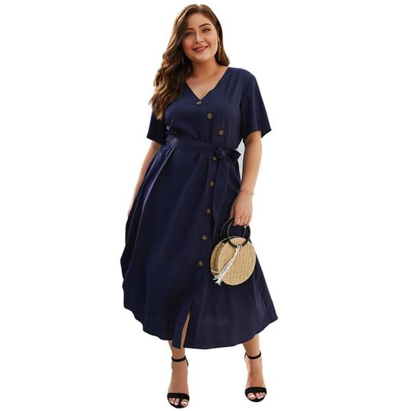 Whzhm Celebrity Button V-neck Sashes High Waist Plus Size 3xl 4xl Dress Women Vestido Casual Evening Party Elegant Femme Dress J190719