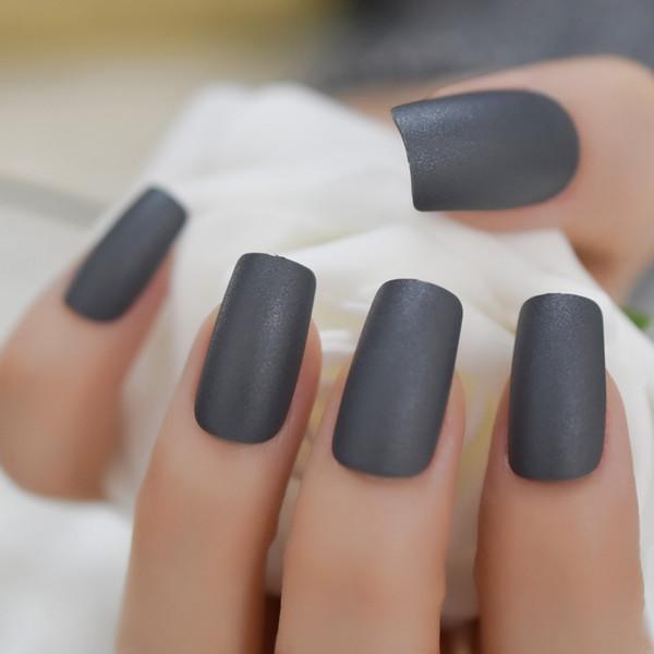Dicken Stil gefälschte Nägel matt dunkelgrau canival künstliche Kunststoffe ABS Nägel quadratische Form mittlerer Länge Nagelspitzen 24